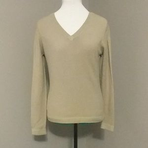Express Women's Tan V-Neck Sweater